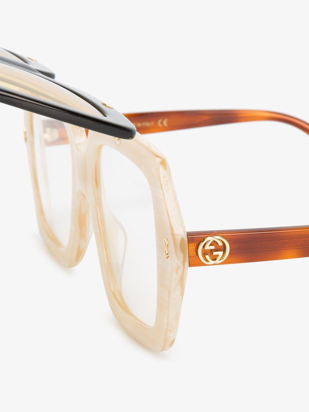 236880b0e1732 Gucci - Multicolor Ladies Yellow And Orange Oversized Flip-up Sunglasses -  Lyst. View fullscreen