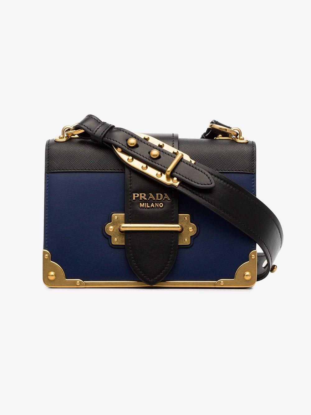 Lyst - Prada Cahier Leather Shoulder Bag in Blue 8e55ba3e27996