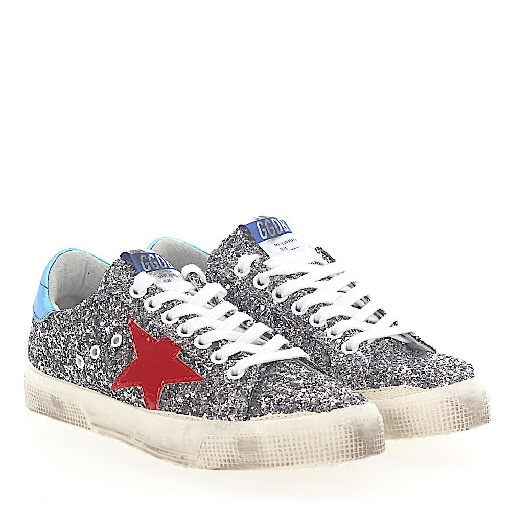 Golden Goose Sneakers G32WS fabric glitter star patch leather white xyOlZbHfg