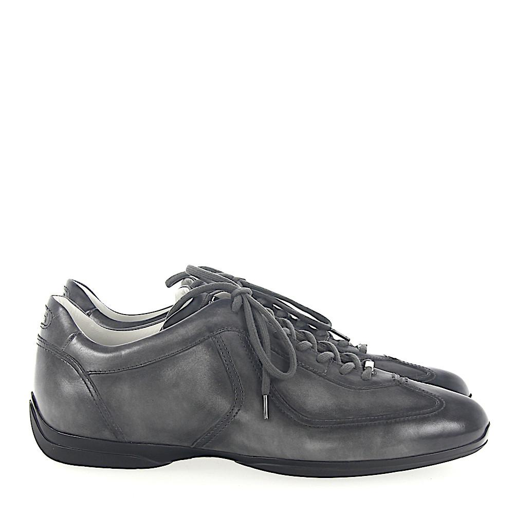 Sneakers 20422 leather grey finished Santoni Excellent Cheap Price cgDuF