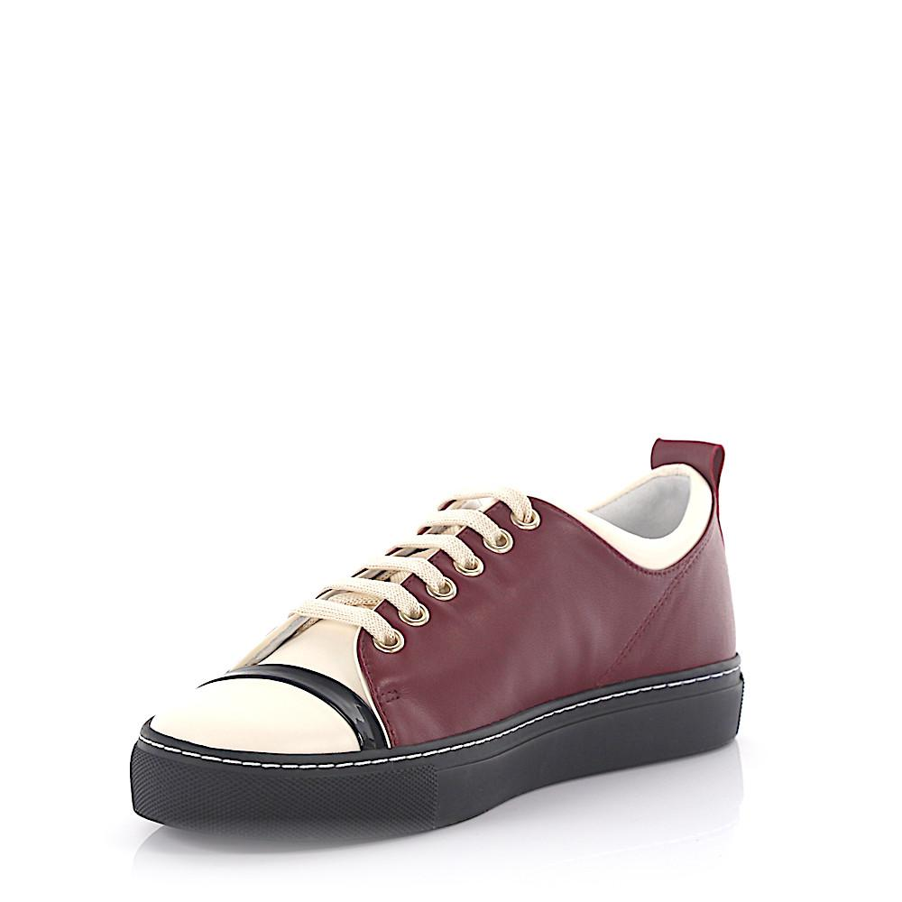 Sneaker lambskin patent leather smooth leather black bordeaux white Lanvin TPgQl