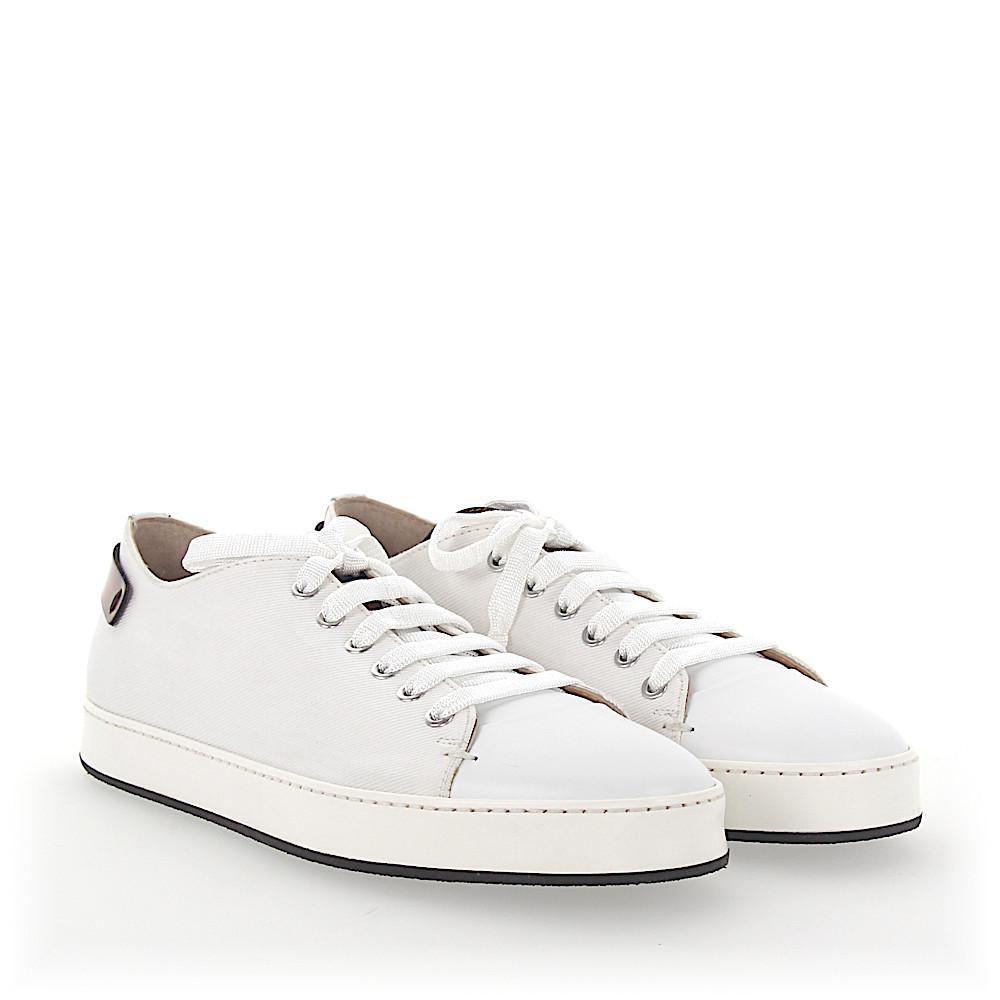 Sneaker canvas smooth leather Logo brown white Santoni LnaDI7