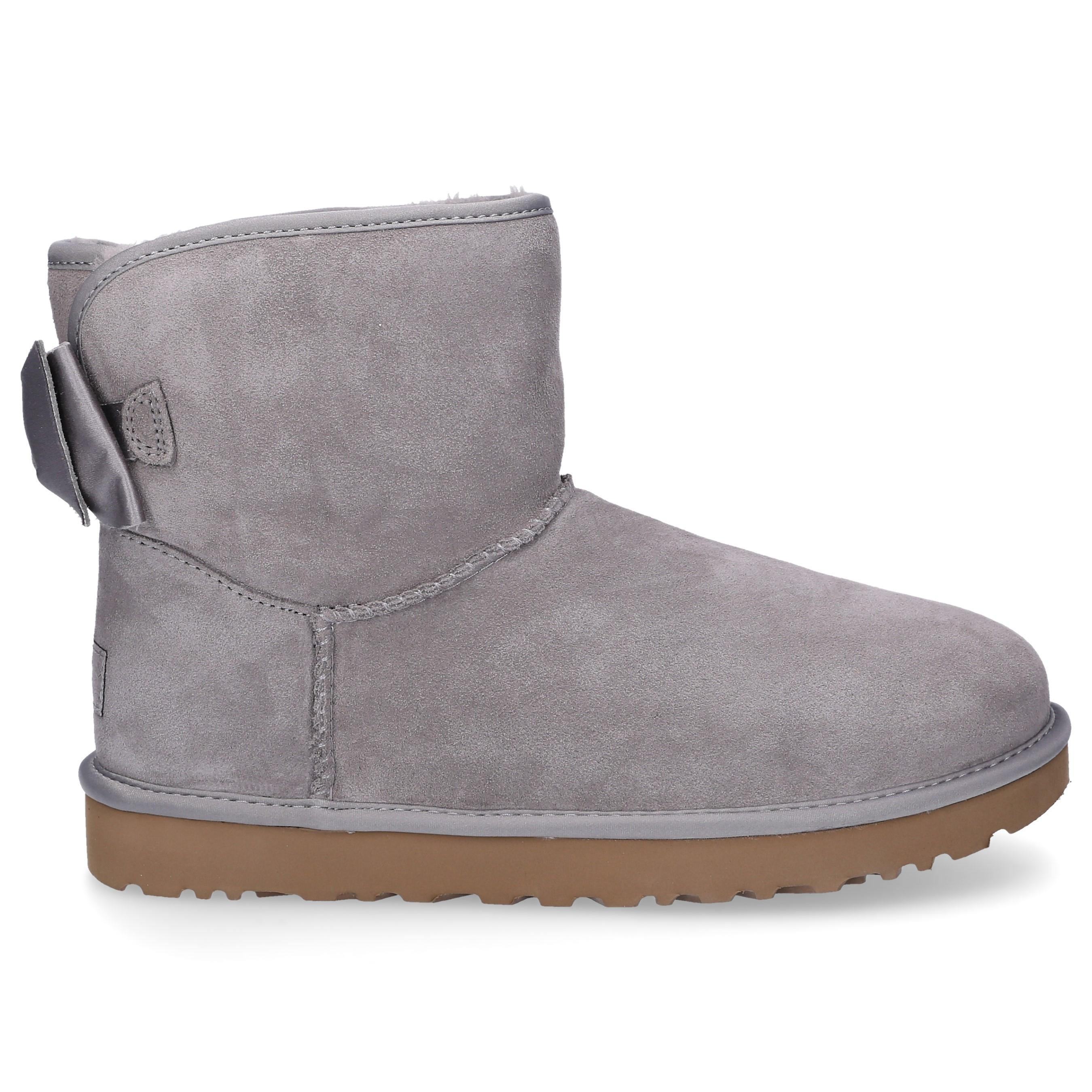 ecc0418f0ad UGG Ankle Boots Satin Bow Suede Logo Ribbon Grey in Gray - Lyst