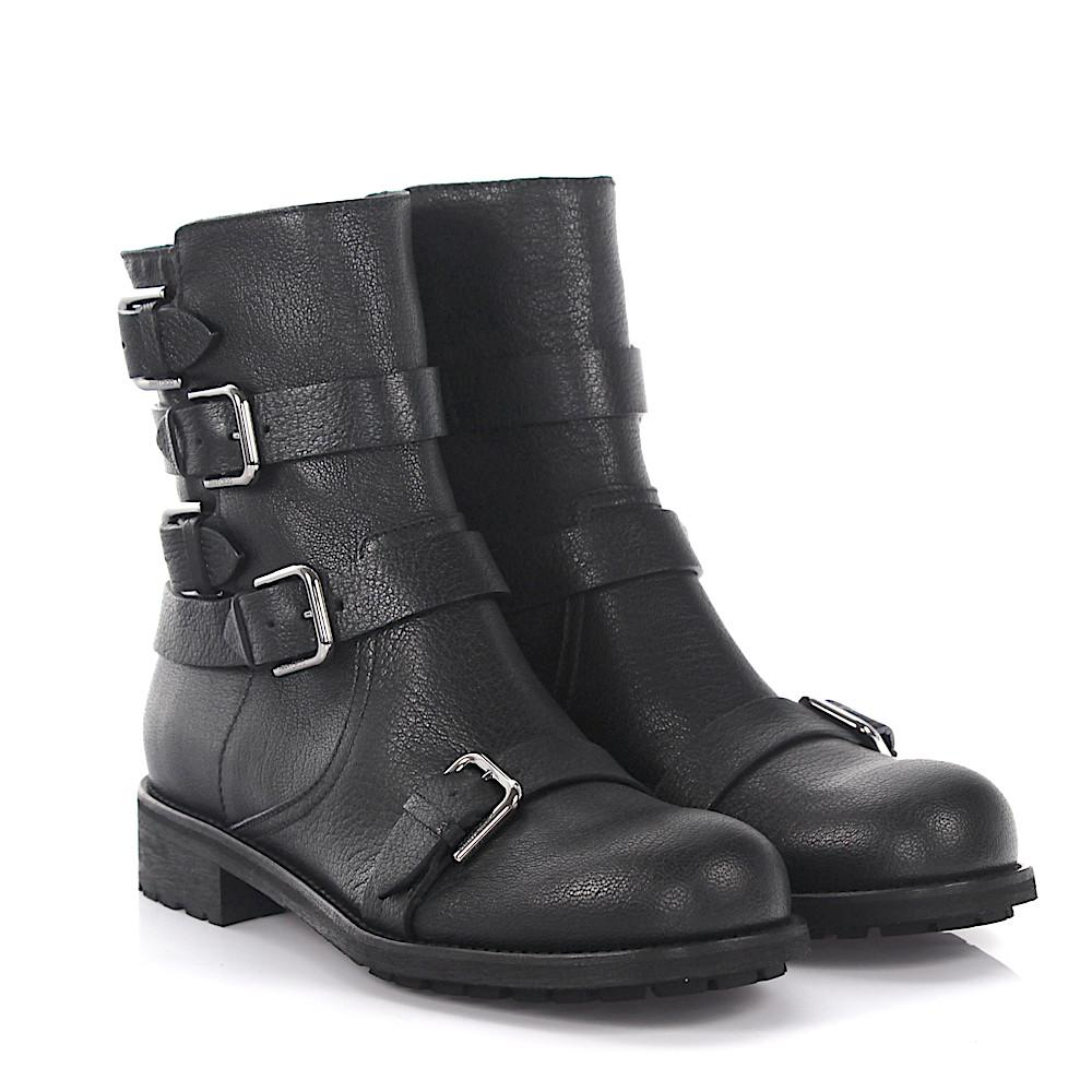 Jimmy choo Boots Dawson flat leather anthracite embossed aj4AjXTL