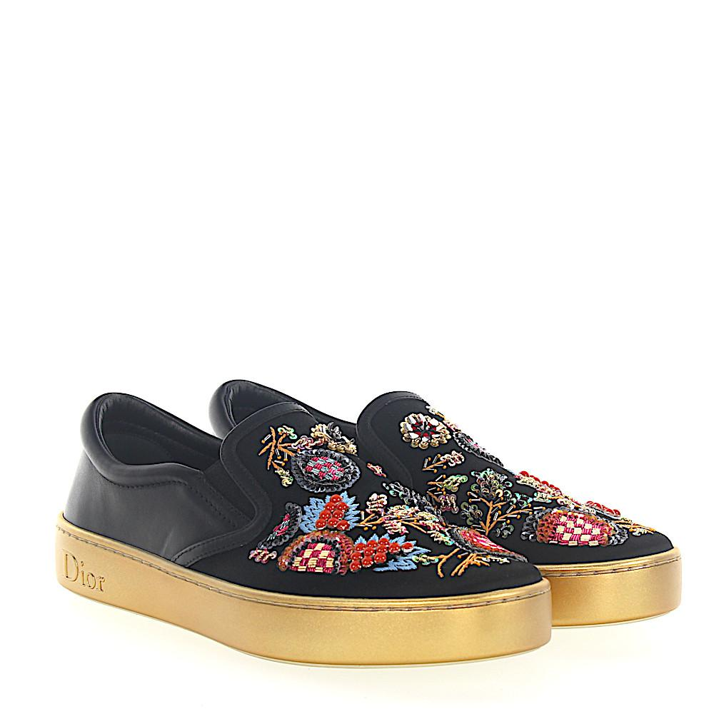 Dior Sneakers Slip On HAPPY leather satin embroidery sequins YI7Qt