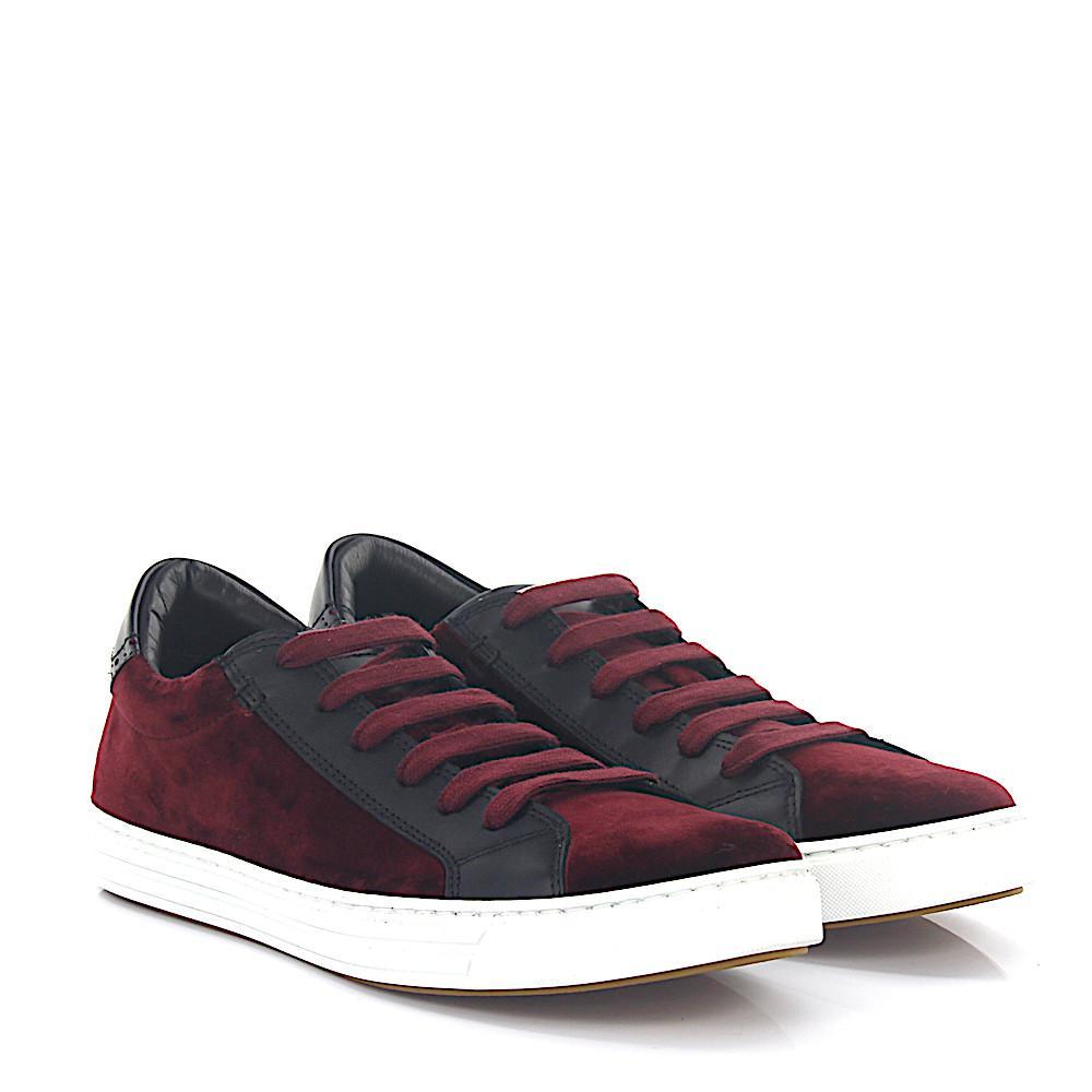 Sneakers TENNIS CLUB velvet claret leather black Dsquared2 AWU0Sb