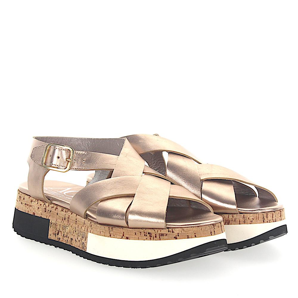 AGL ATTILIO GIUSTI LEOMBRUNI Sandals D608143 Plateau leather metallic bronze Clearance Outlet Locations Cheap 100% Guaranteed Marketable Sale Online Visa Payment Online Inti08Bik