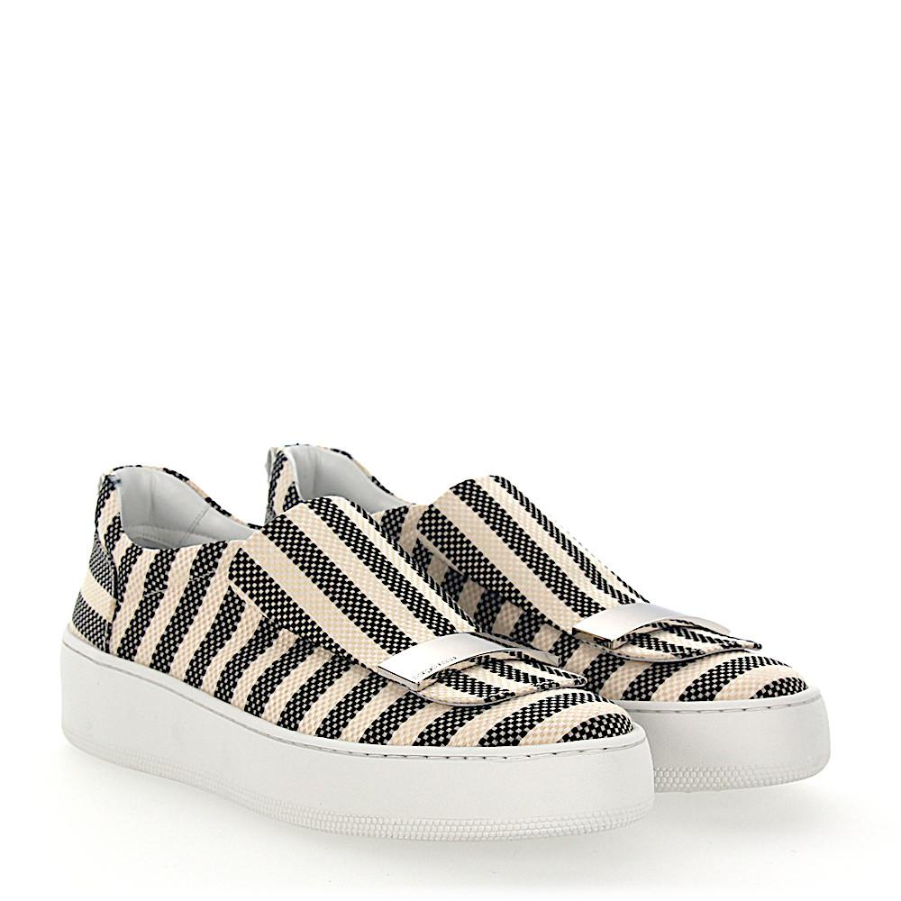 Sergio Rossi Slip-On Sneakers A79290 fabric beige striped squared silver-plated RgvMPXul