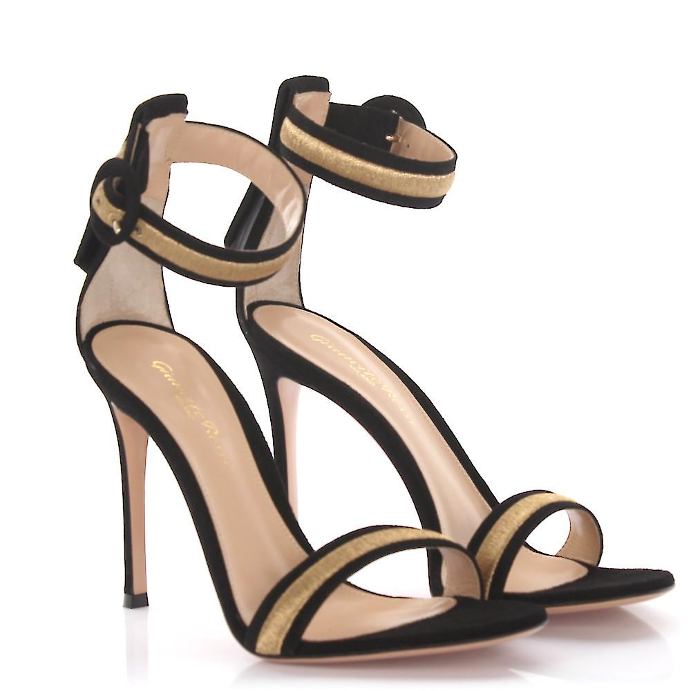 Gianvito Rossi Sandals Marshal ankle strap suede embroidery gold CEO4Z1Tu