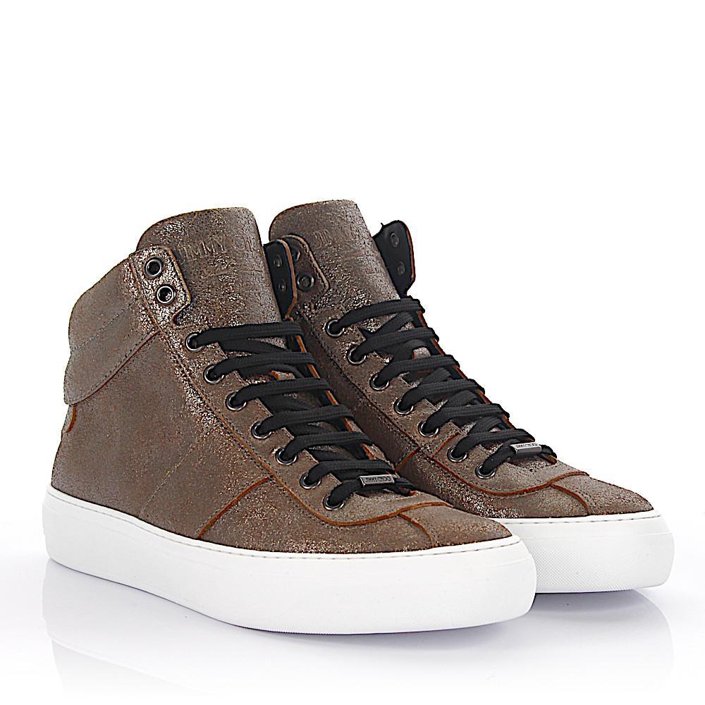 Sneaker high Belgravi leather bronze metallic finished Jimmy Choo London ESSJ14jL