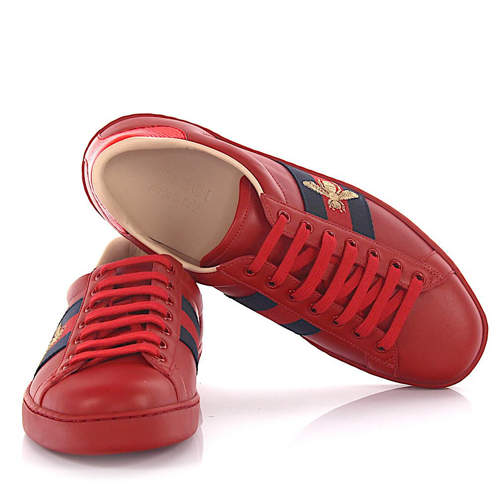a29d011fdc4 Lyst - Gucci Sneaker A38g0 Leather Red -bees- Woven Details Ayers ...