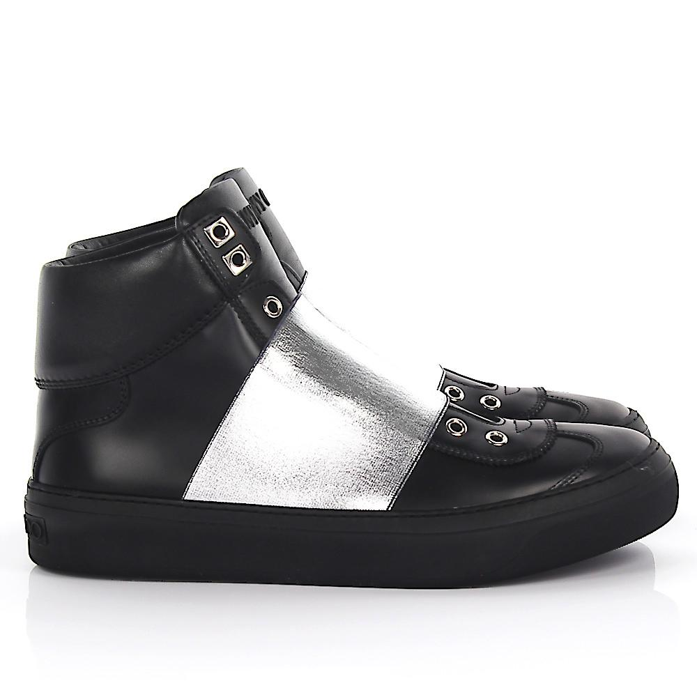 Jimmy chooSneakers High Slip On Archie leather stretch stripe silver VnasLjBI