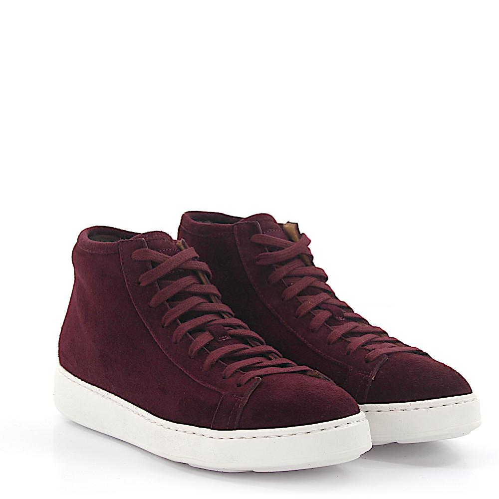Sneakers 60124 Míd Top suede bordeaux fur Santoni HyNXXPZb3