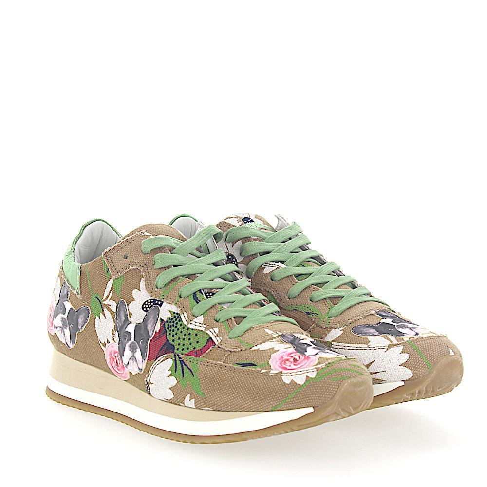 Philippe model Sneakers ETOILE fabric flower pattern bulldog patch c6IPdOMNqj