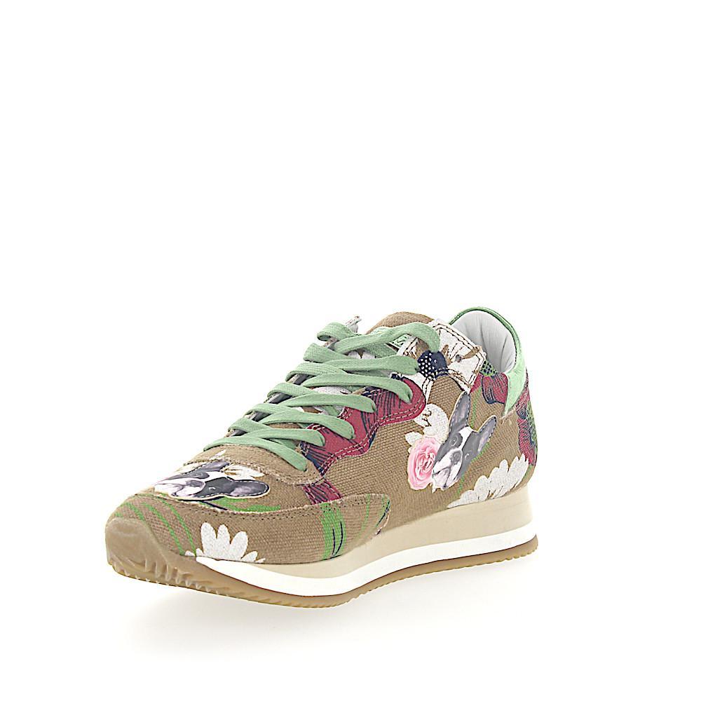 Sneakers ETOILE fabric beige flower pattern bulldog patch Philippe Model yXccOvSjQ