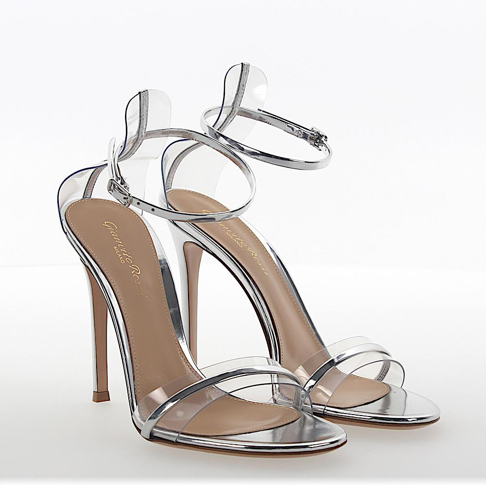 450d681e6cf Gianvito Rossi Sandalen G String Pvc Transparent Leder Silber ...