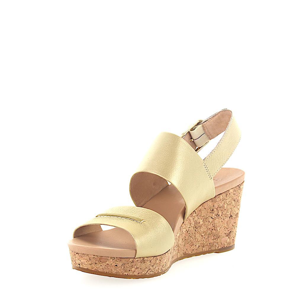933336b6761 Lyst - UGG Wedge Sandals Elena Metallic Calfskin Stitching Gold in ...