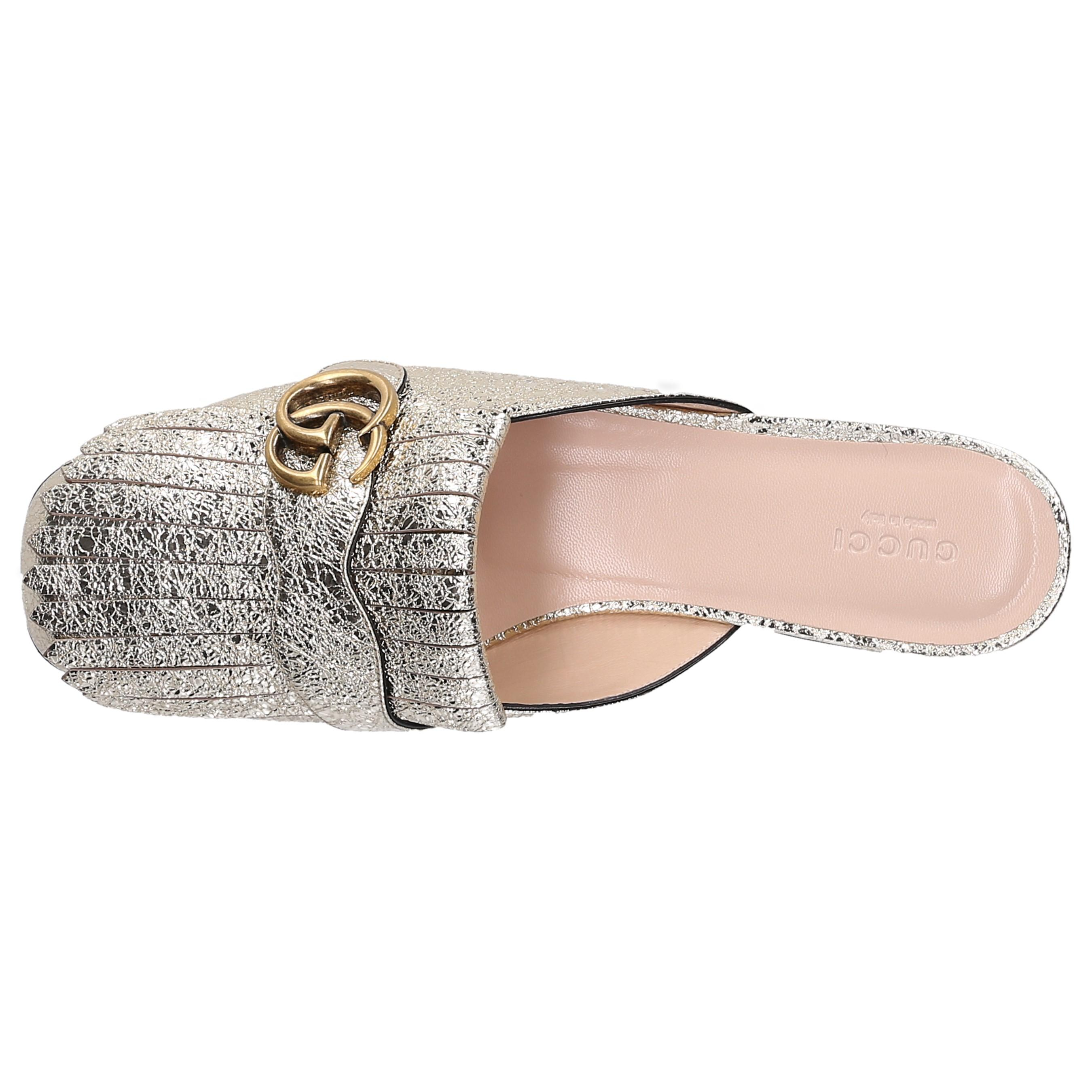 98c824393 Gucci - Metallic Slip On Shoes Dkt00 Smooth Leather Embossing Tassel Gold -  Lyst. View fullscreen
