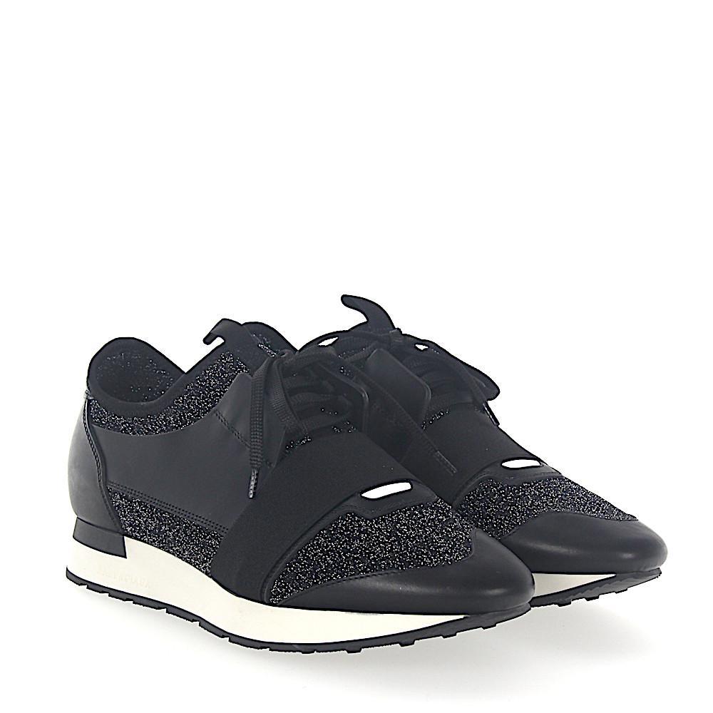 Balenciaga Sneakers RACE RUNNER leather fabric silver glitter MVL39