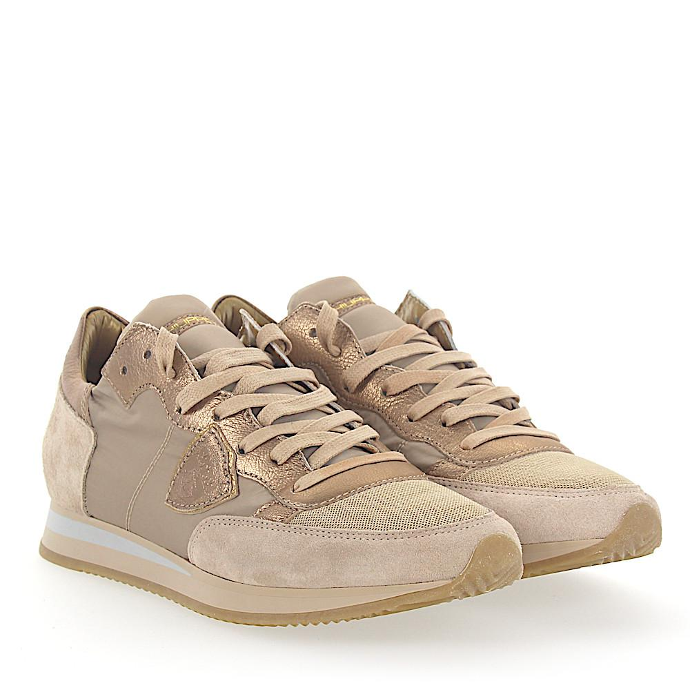 Philippe model Sneakers TROPEZ leather suede gold nylon mesh hdXJJLy5