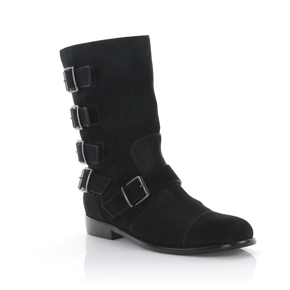 c3181f54ea46 Giuseppe Zanotti Boots Suede Decorative Buckle Black in Black - Lyst