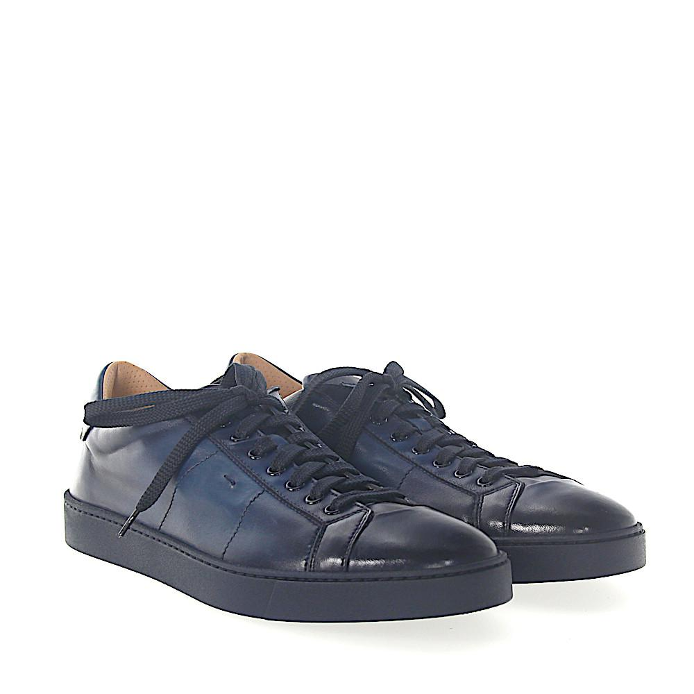 Sneakers 14398 leather blue finished Santoni Dl3GG6zcyb