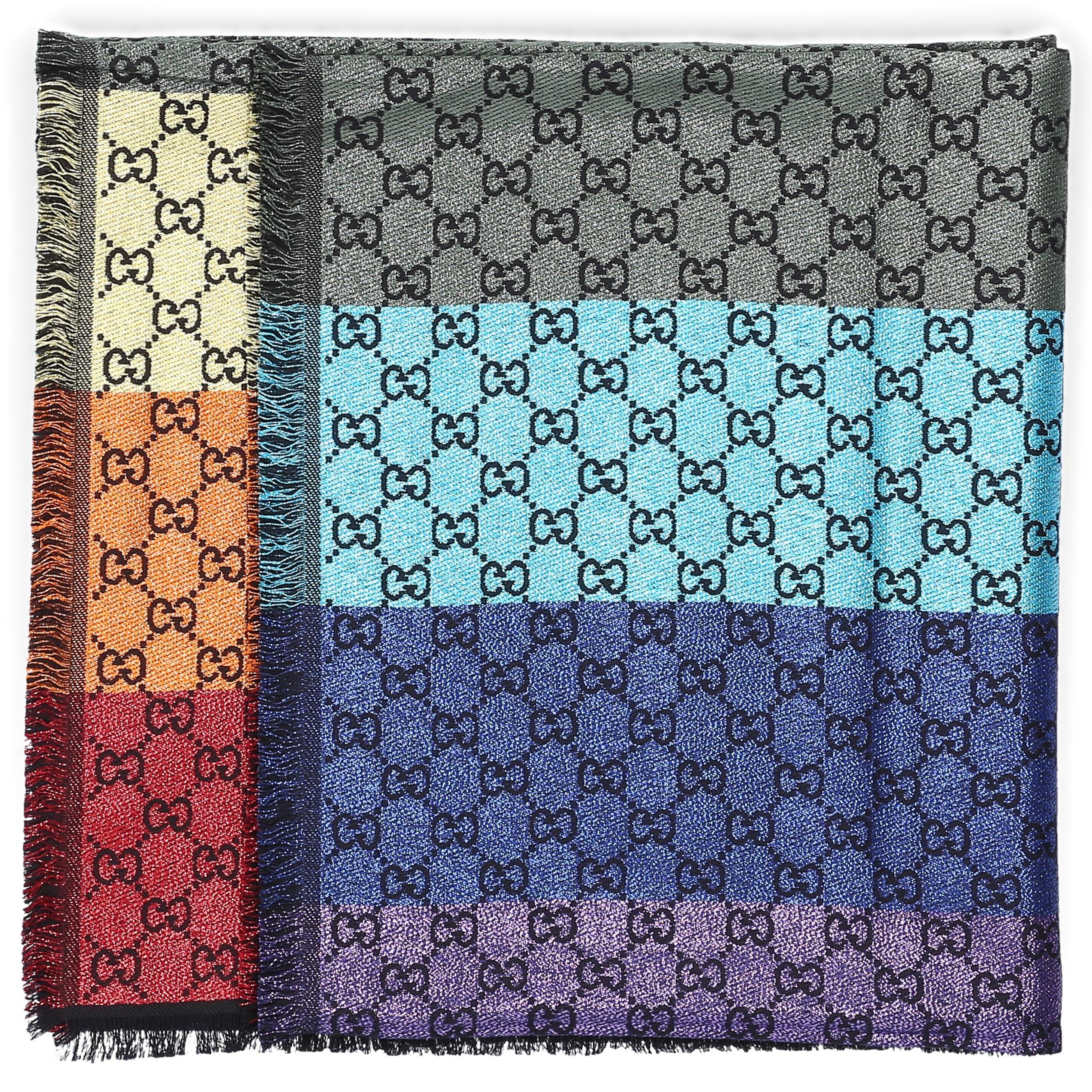 eb5e12b91596 Gucci Women Scarf 3gc46 Cotton Logo Black Multicolor in Black - Lyst