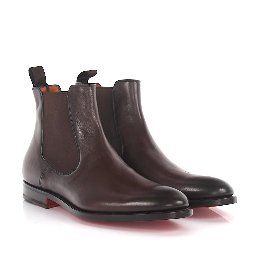 Santoni 11033 Boot Chelsea Smooth In Brown Calfskin Lyst Leather daRTxw1d