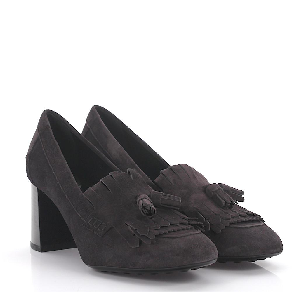 Tods Pumps 820LCA suede grey frays tassel Tod's 9tkEh3zs