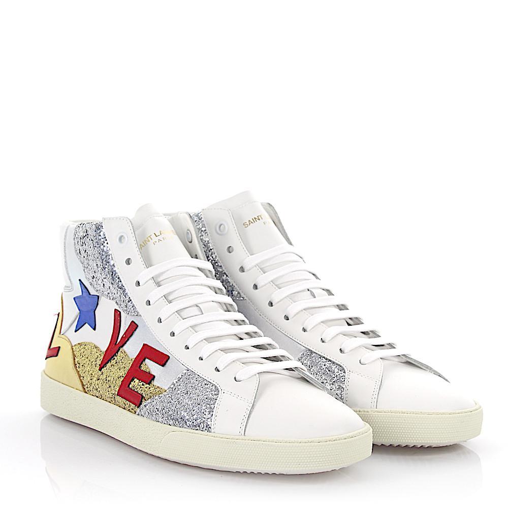 Saint LaurentSneaker high SL/06 Love leather gold silver glitter kN1LHf