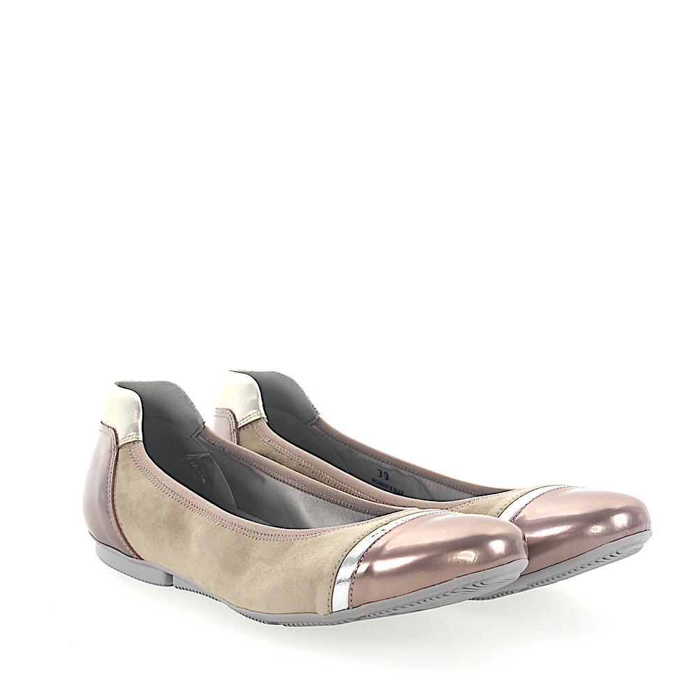 Hogan Ballet Flats 144 suede Logo Metallic rose silver lx56EeI