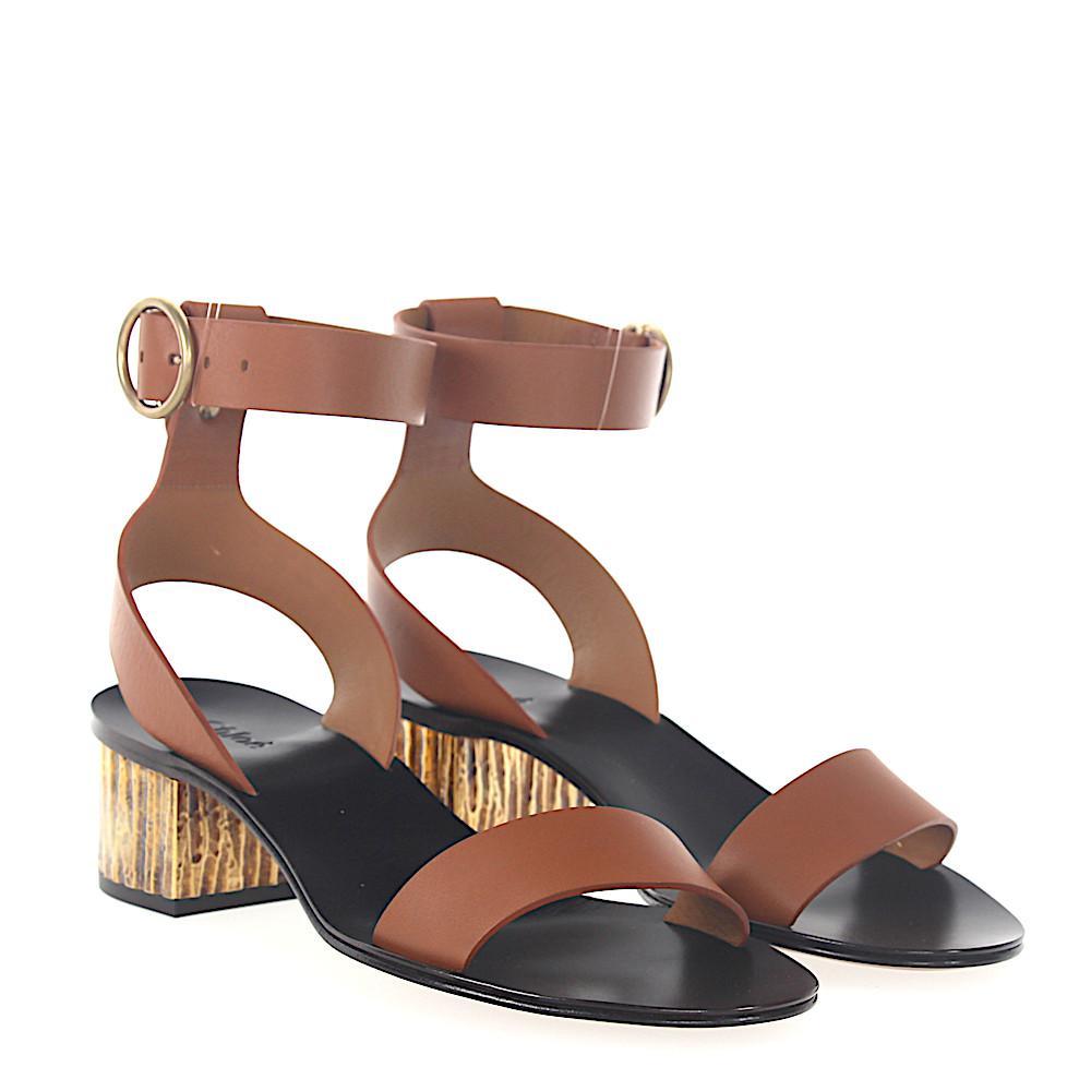 Chloé Sandals leather metal block heel