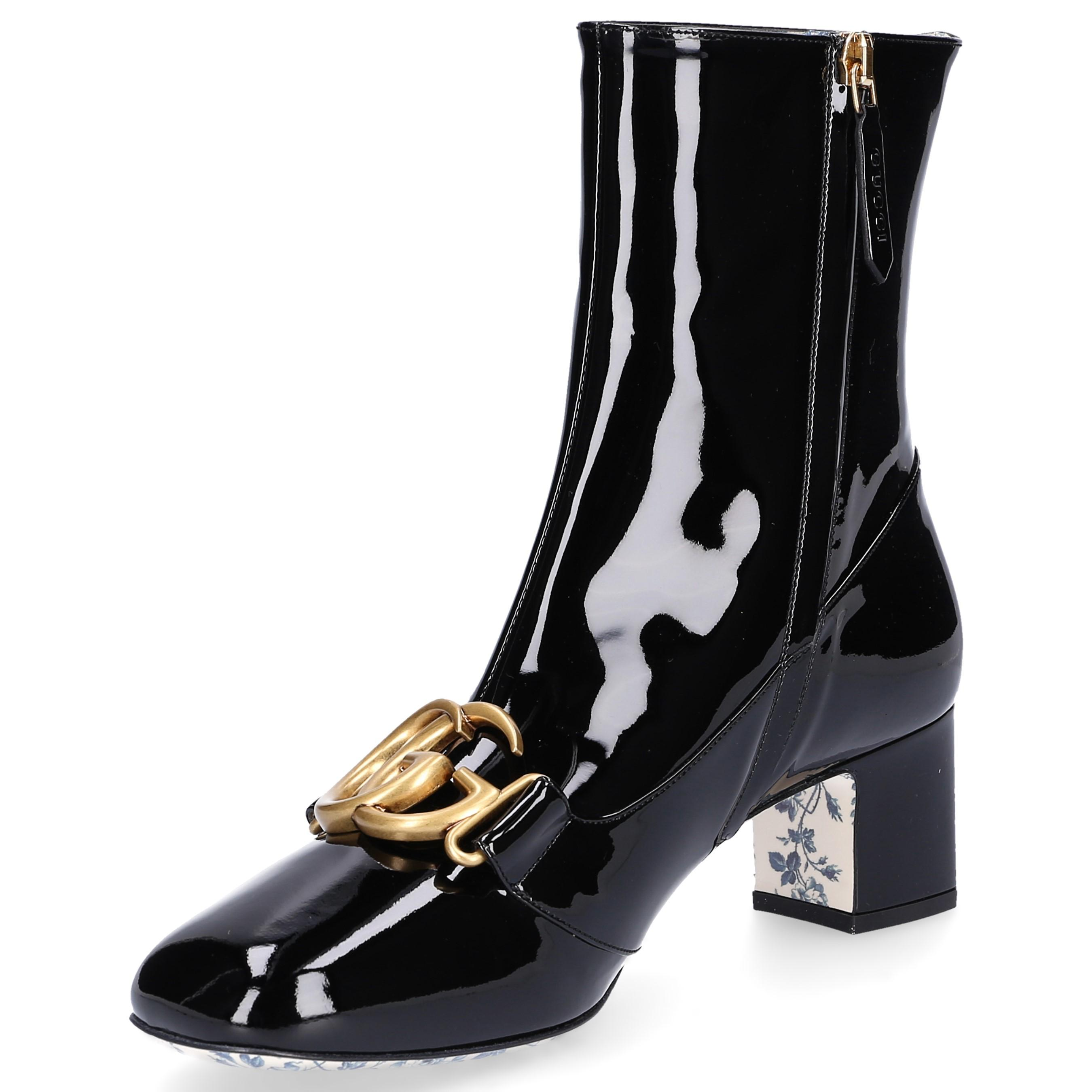 04b64c7d4e3 Gucci - Black Embellished Patent Leather Ankle Boots - Lyst. View fullscreen
