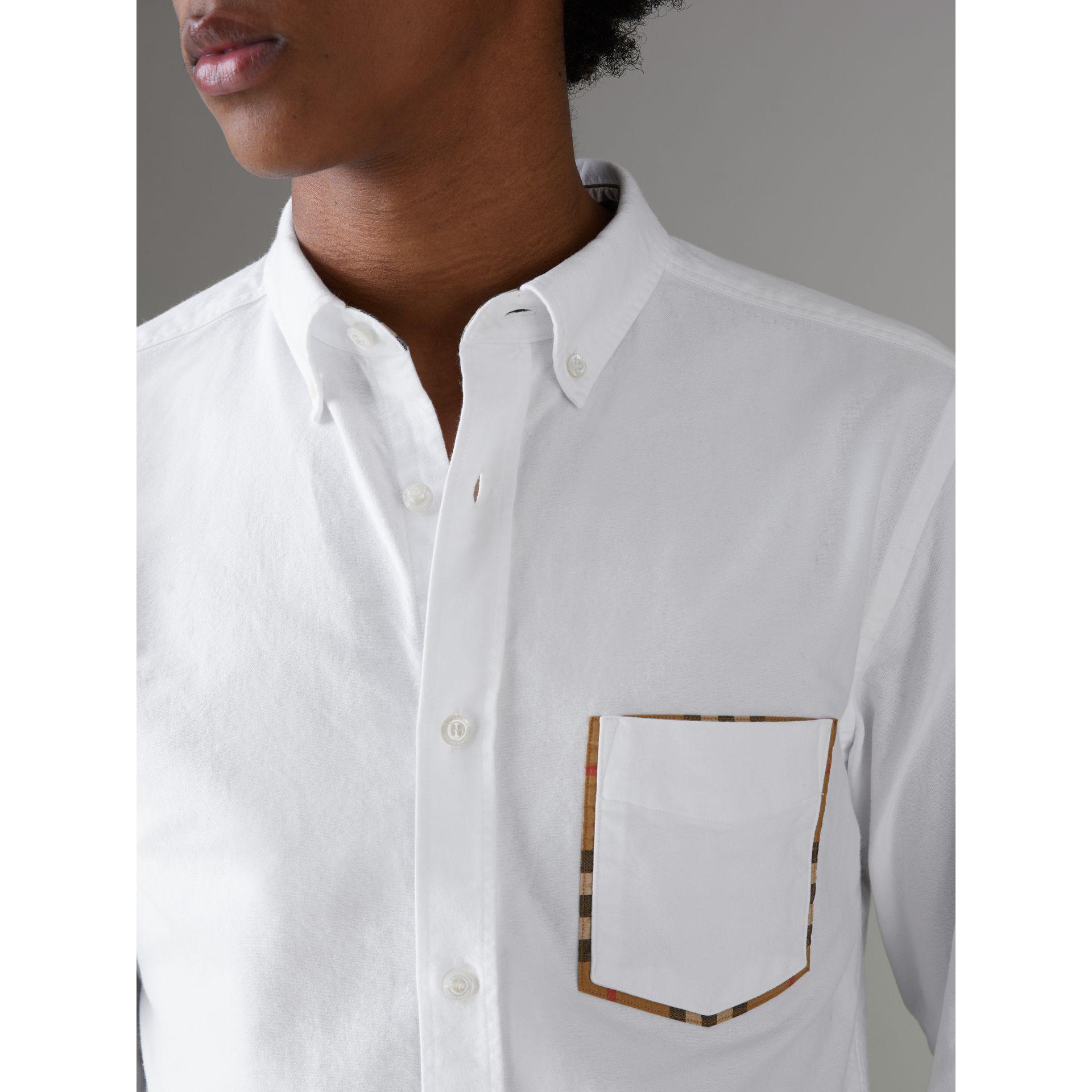 a56d53172 Burberry Check Detail Cotton Oxford Shirt for Men - Lyst