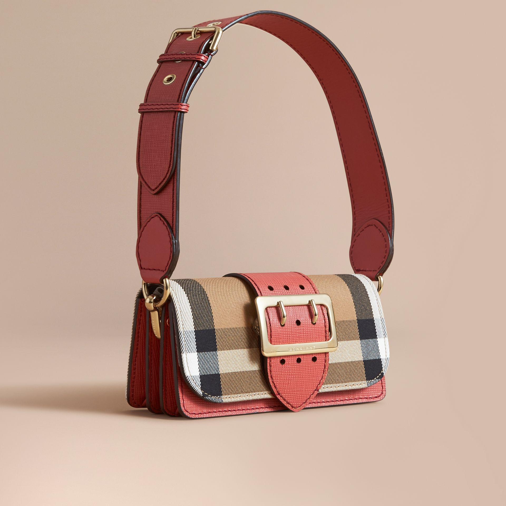 Burberry The Small Buckle Bag In House Check And Leather Cinnamon ... 4cad380f0f