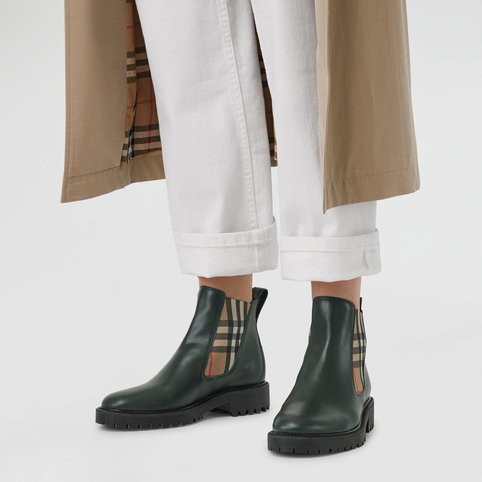 21fd139770d0 Lyst - Burberry Vintage Check Detail Leather Chelsea Boots in Green