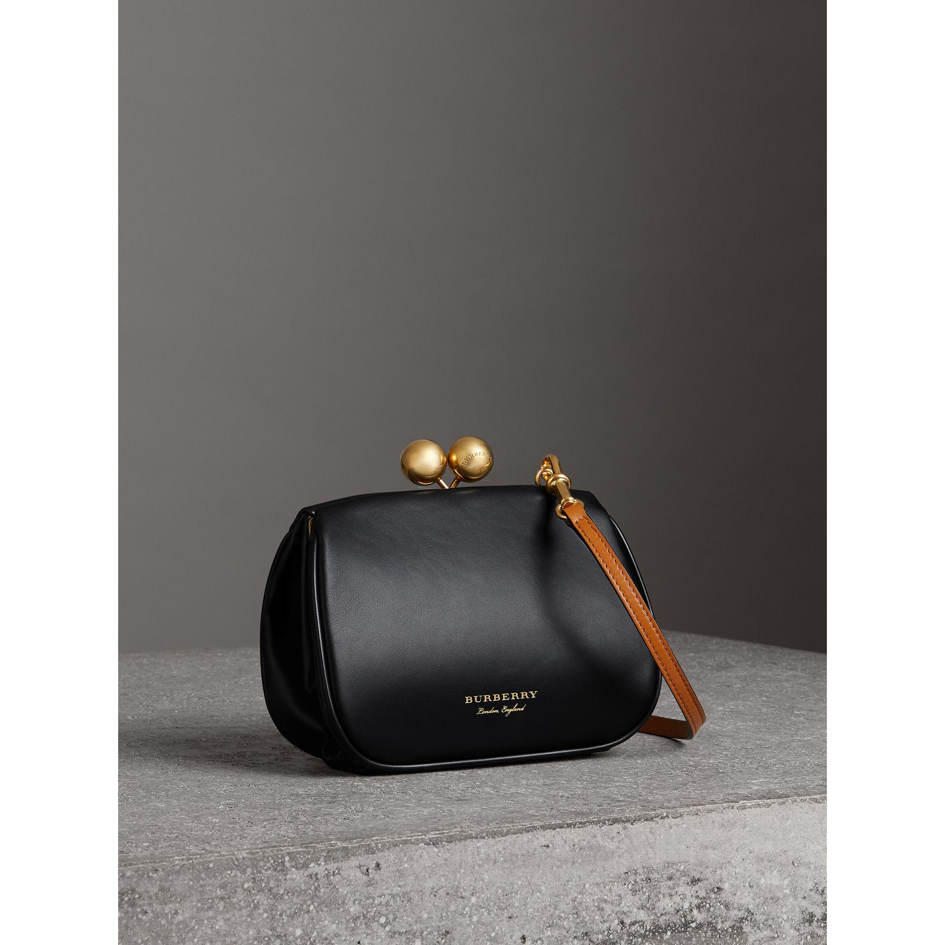 19705d9ca8 Burberry Small Leather Frame Bag in Black - Lyst
