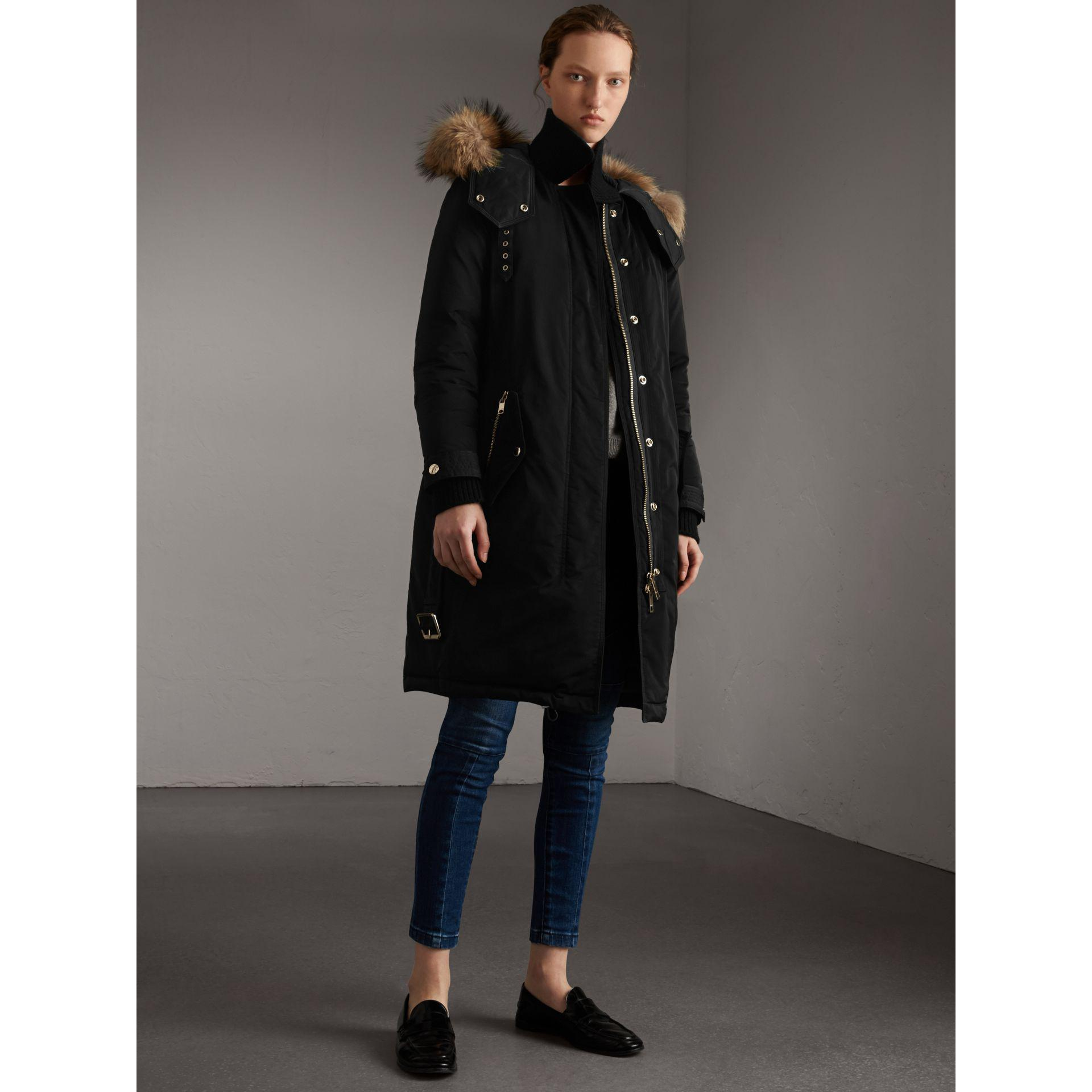 7a2240be78a5 Lyst - Burberry Down-filled Parka Coat With Detachable Fur Trim ...