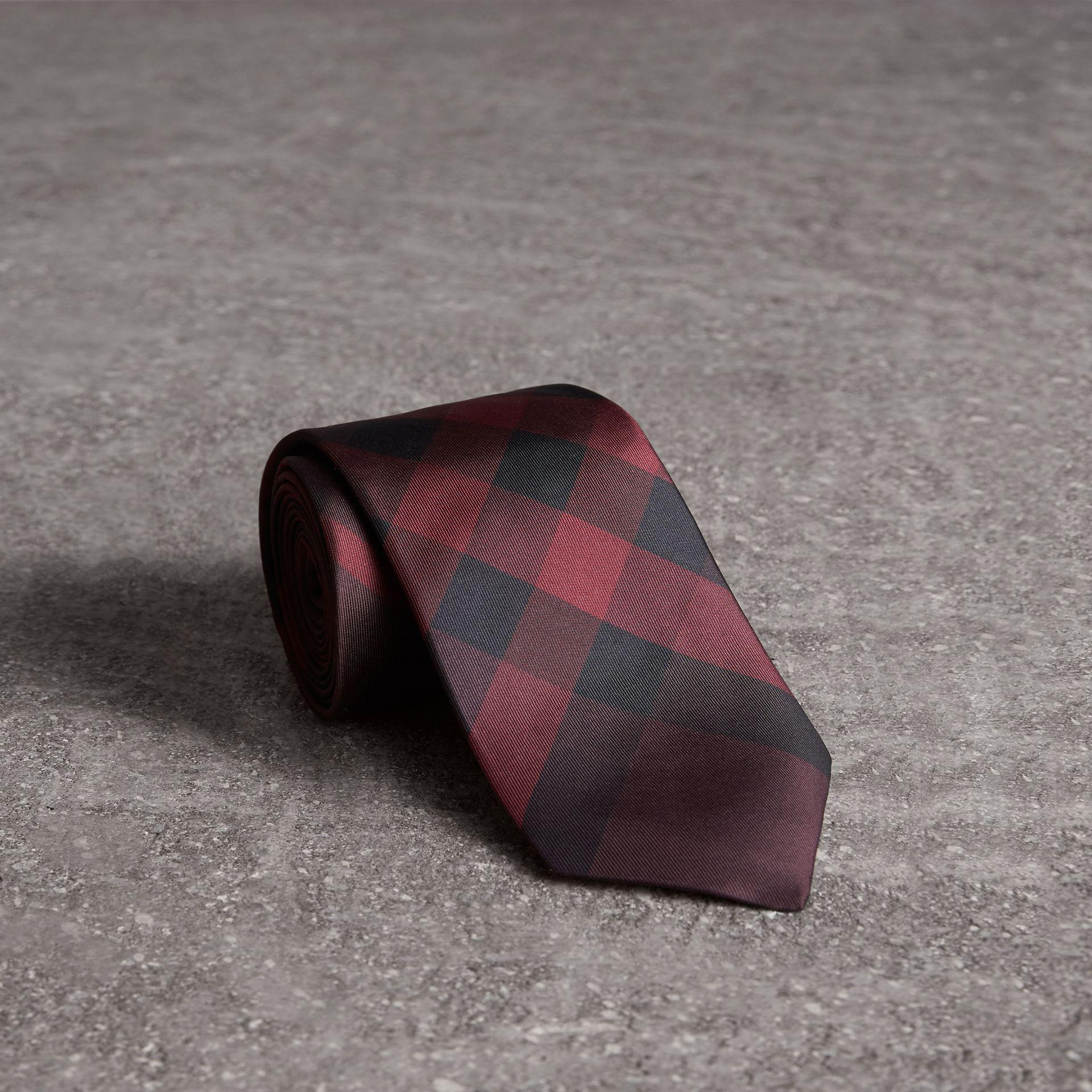 01faa5a11dab ... greece burberry modern cut check silk tie deep claret in purple for men  lyst 42252 6f115