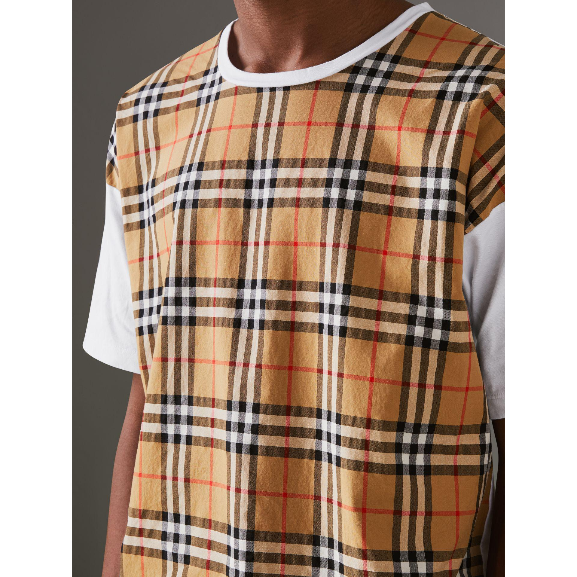 15648e280593 Lyst - Burberry Vintage Check Panel Cotton T-shirt in White for Men