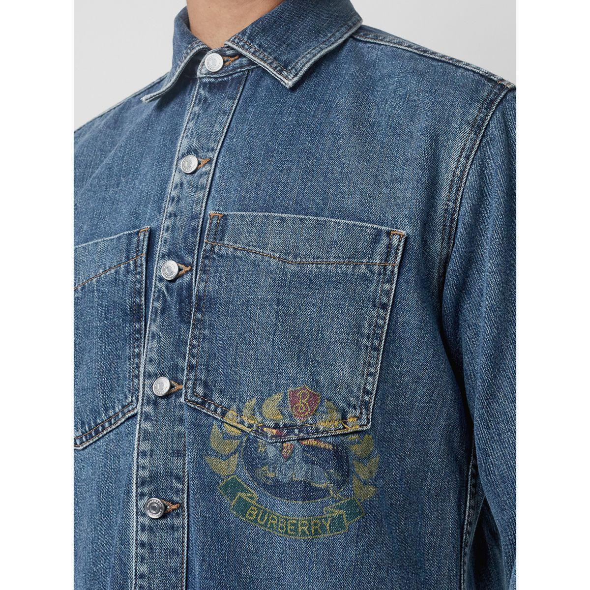 94e511b3c3d ... Crest Print Denim Overshirt for Men - Lyst. View fullscreen
