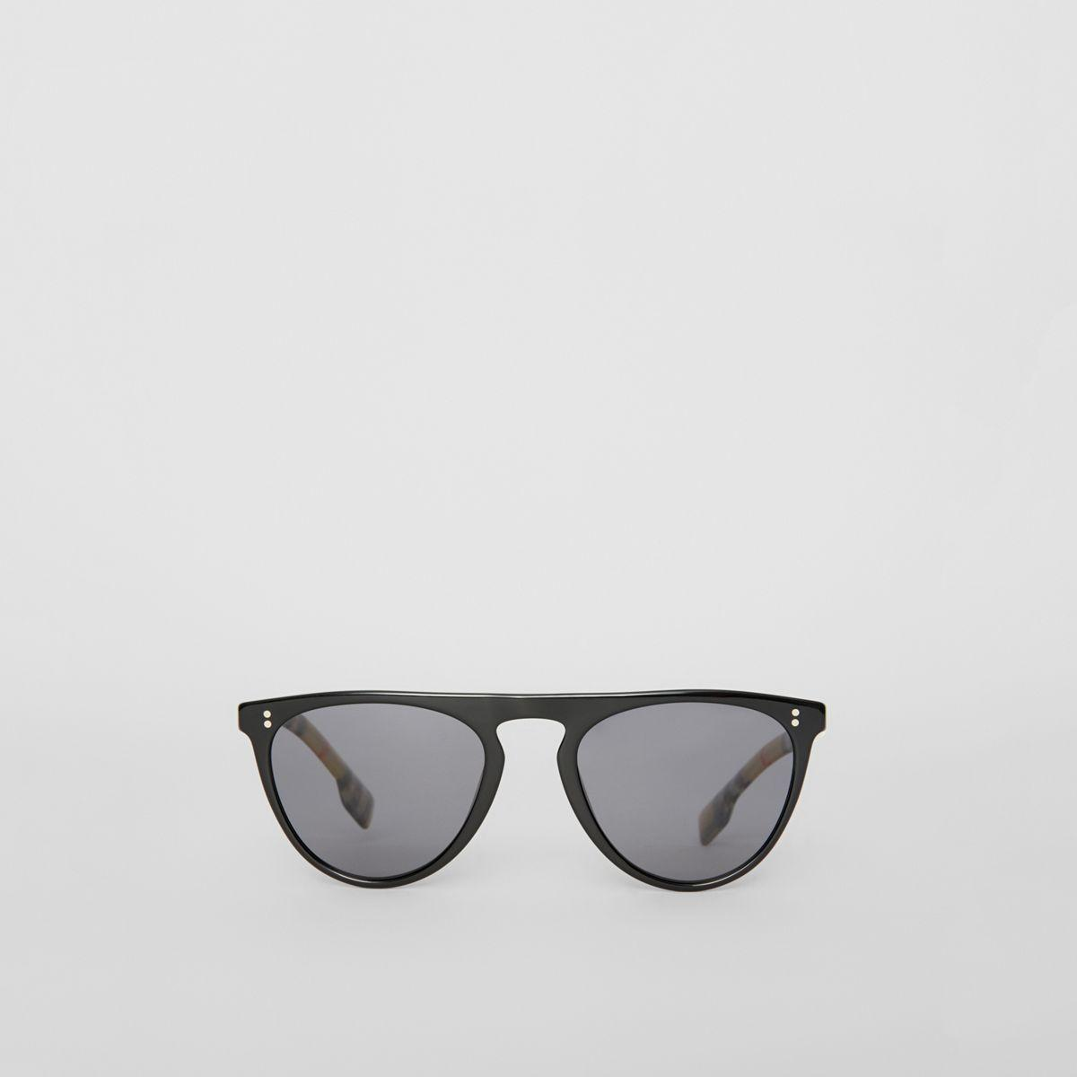 ab08402773a Lyst - Burberry Vintage Check Detail Keyhole D-shaped Sunglasses in ...
