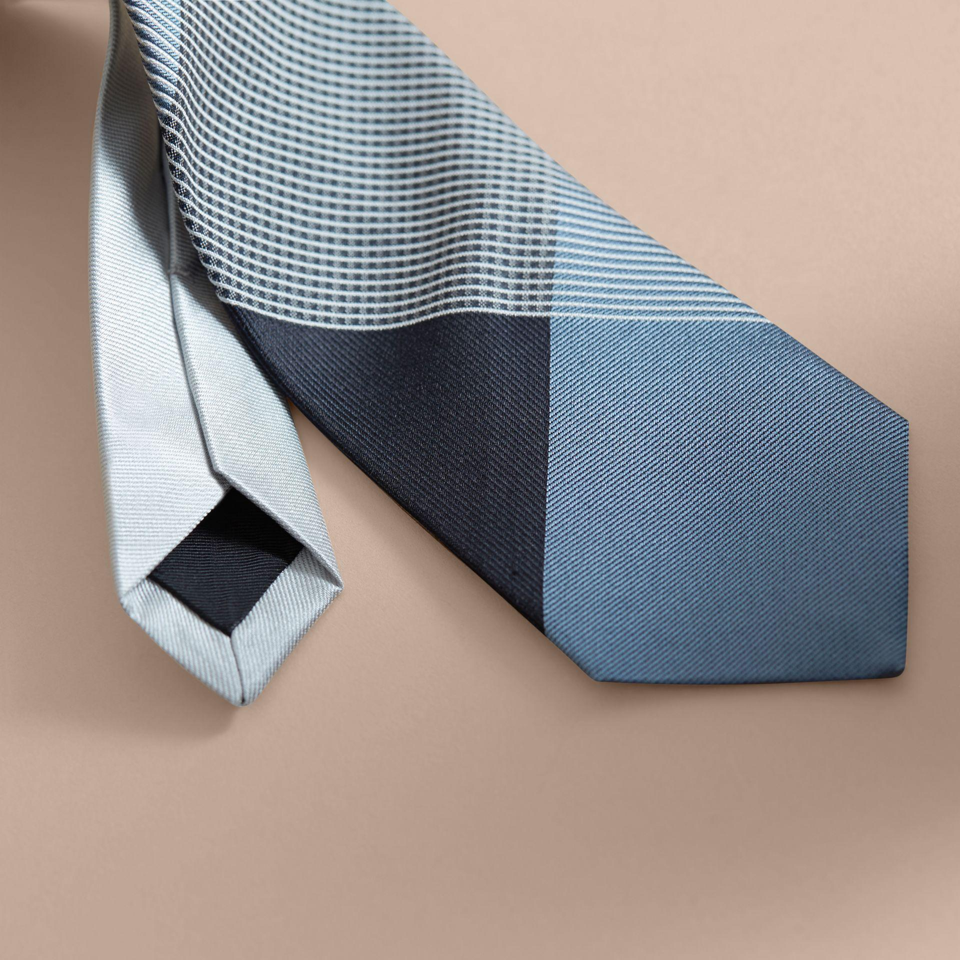 0a880905ce94 Lyst - Burberry Modern Cut Gingham Check Silk Jacquard Tie Slate ...