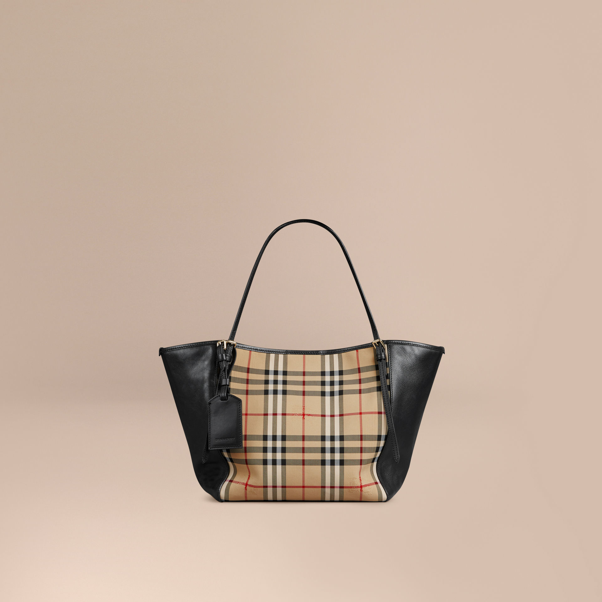 f3b8ee935d7d Lyst - Burberry The Small Canter Horseferry Check And Leather Bag in ...