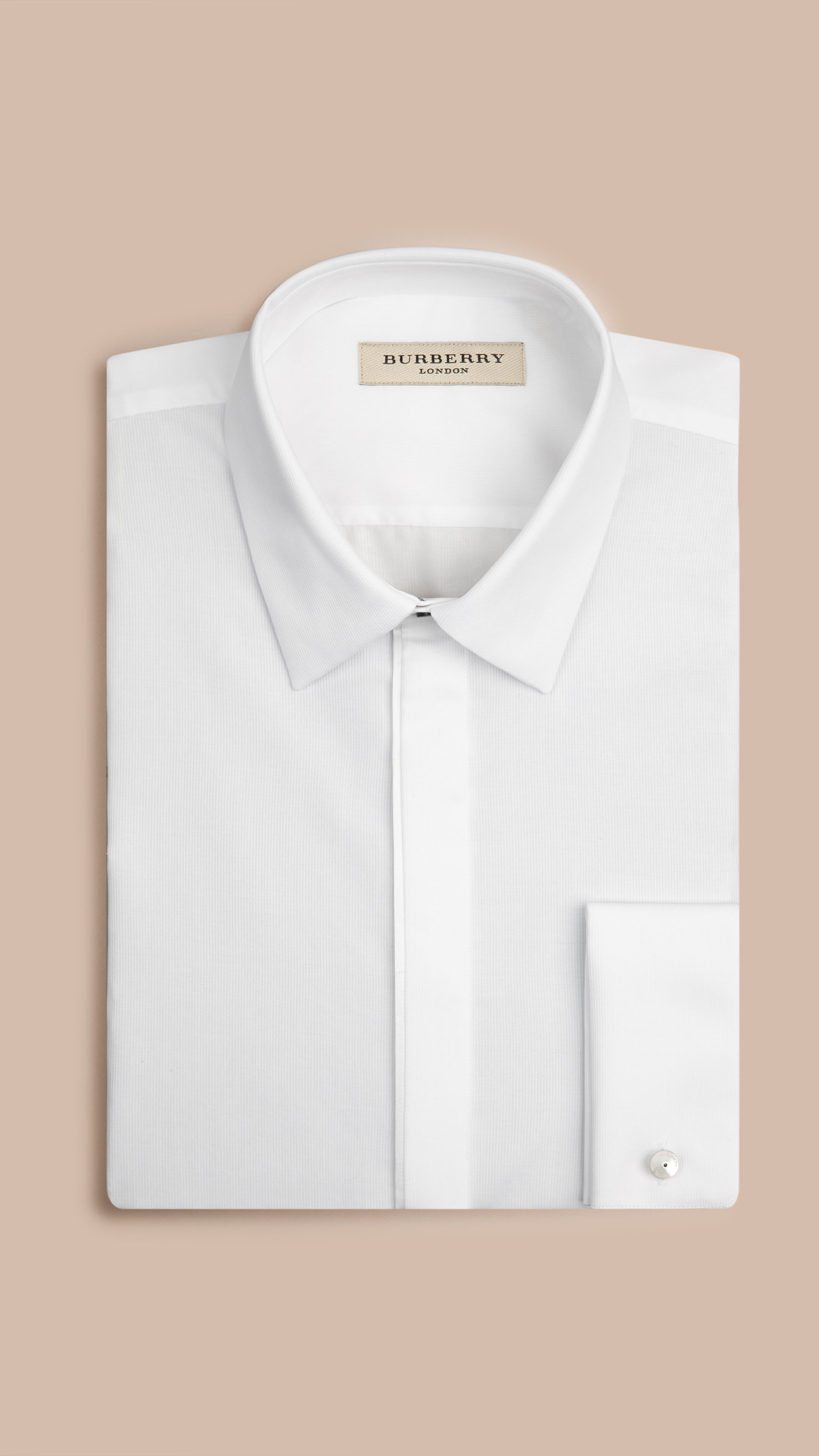 Burberry Slim Fit Double Cuff Cotton Dress Shirt In White