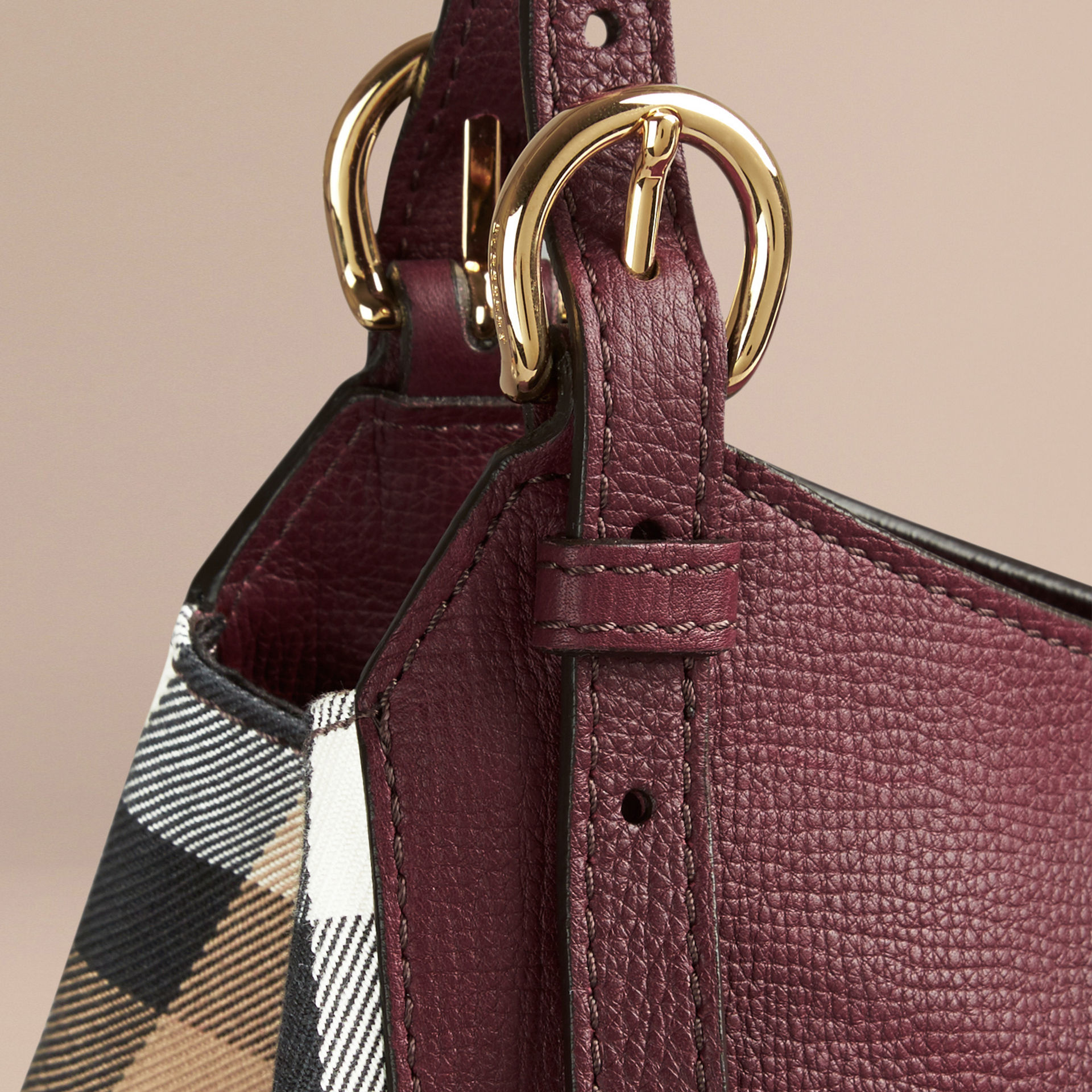 d4c332fdcff8 Lyst - Burberry The Small Canter In Leather And House Check Mahogany ...