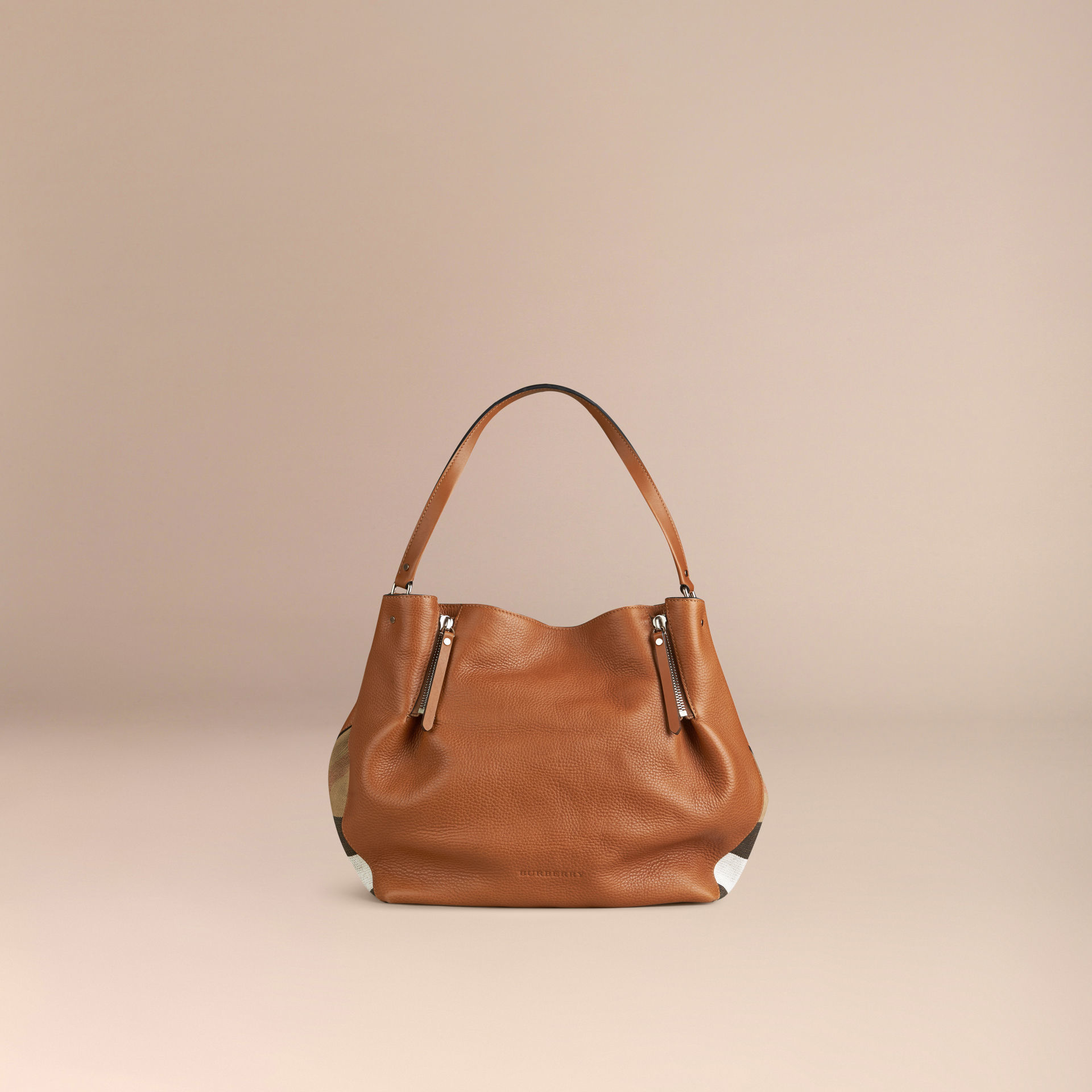 5e153dd553cd Lyst - Burberry Maidstone Medium Check Detail Leather Tote Bag ...