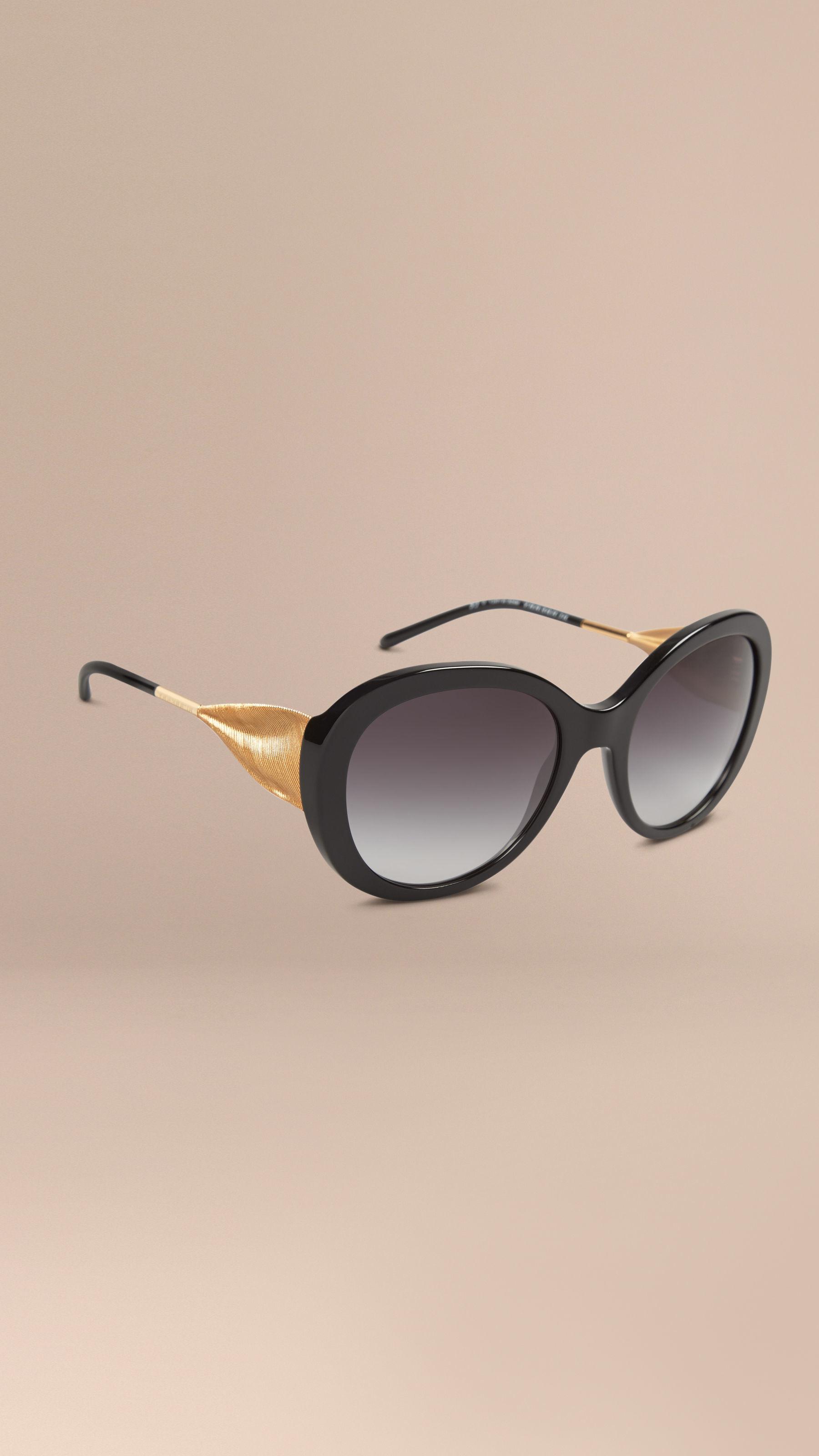 Burberry Black Frame Glasses : Burberry Oversize Round Frame Sunglasses Black in Black Lyst