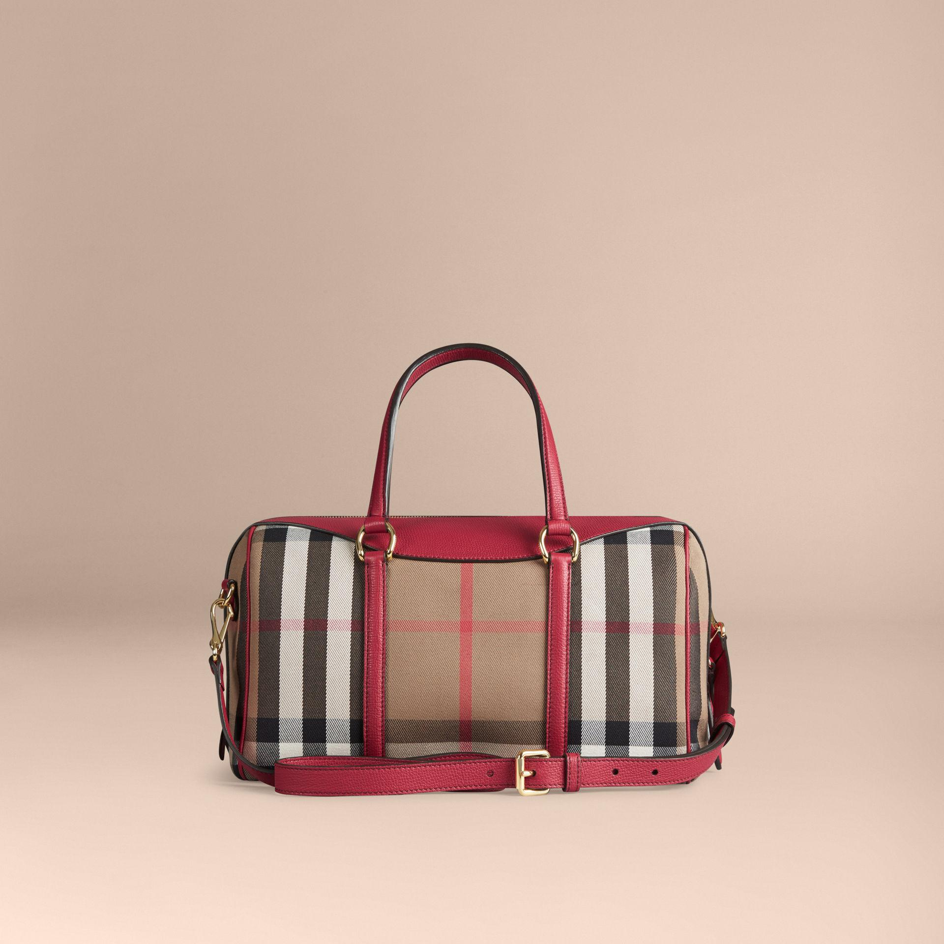 4ae1f767c04e Lyst - Burberry The Medium Alchester House Check And Leather Bag in Red