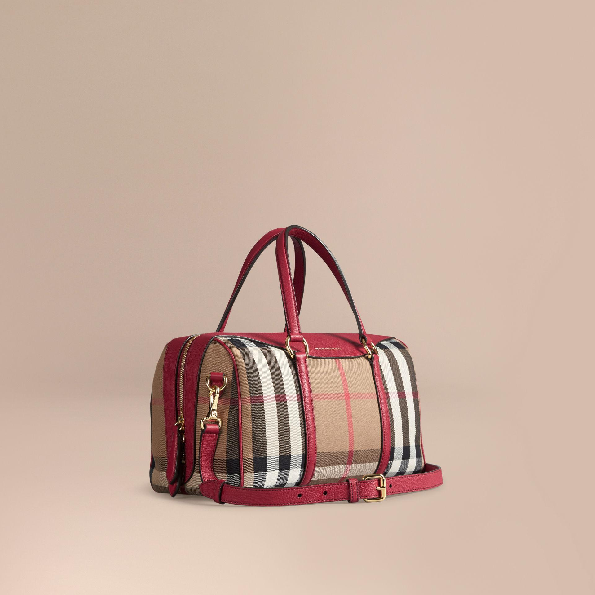 63a902e03978 Lyst - Burberry The Medium Alchester House Check And Leather Bag in Red